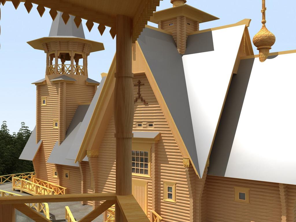 Вид на Храм с галереи хозблока