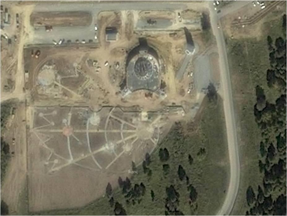 Вид строительства из космоса